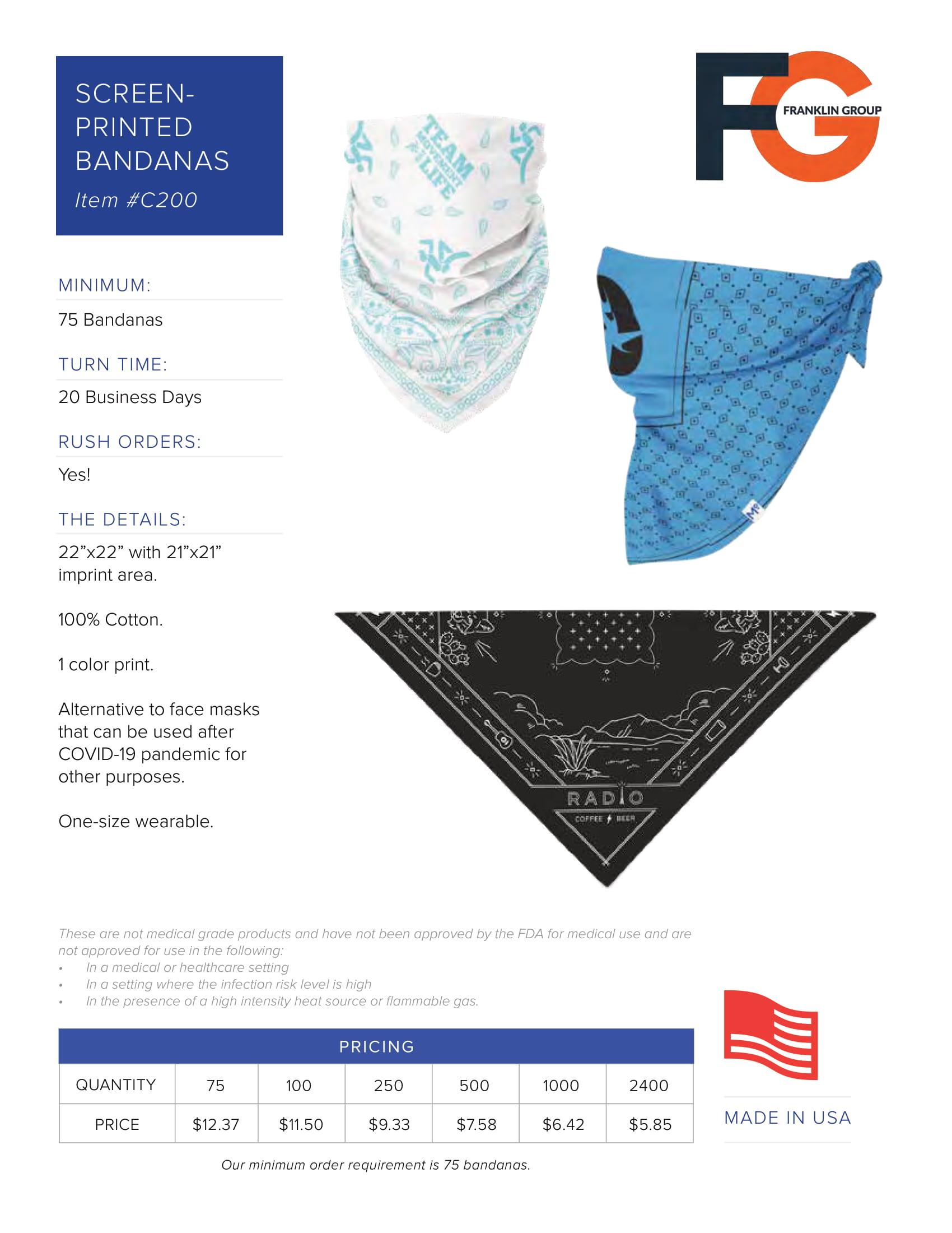 Screen Printed Bandanas