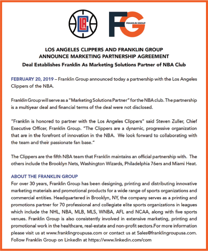 LA Clippers and Franklin Group Announce Marketing Partnership