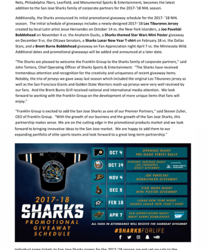 San Jose Sharks Welcome Franklin Group As Team's Newest Corporate Partner