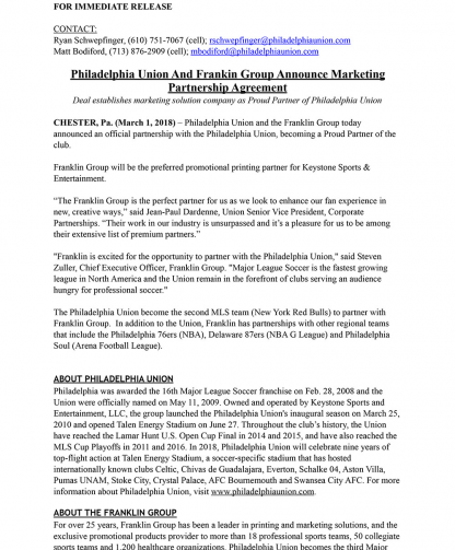 Philadelphia Union And Franklin Group Announce Marketing Partnership Agreement