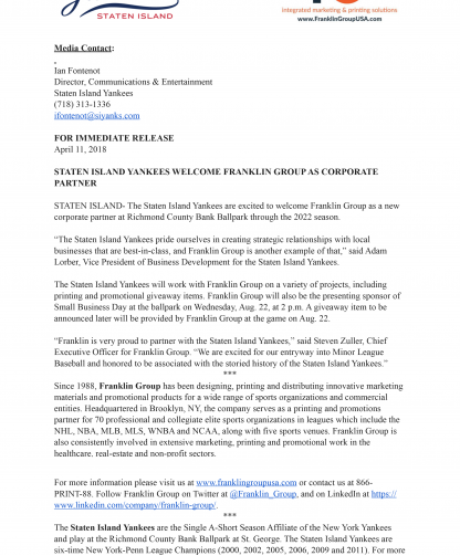 Staten Island Yankess Press Release