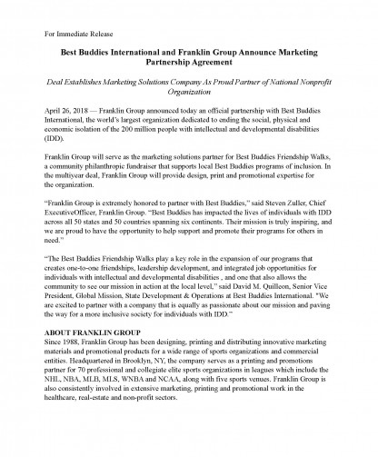 Best Buddies International and Franklin Group Announce Marketing Partnership Agreement