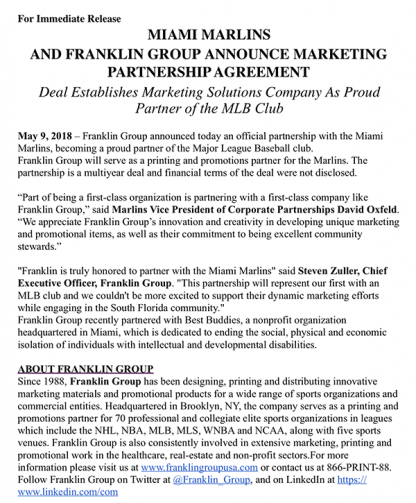 Miami Marlins And Franklin Group Announce Marketing Partnership Agreement
