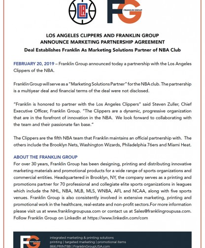 Los Angeles Clippers and Franklin Group Announce Marketing Partnership Agreement